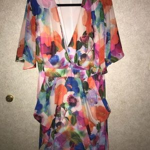City Chic Floral dress cinched waist size M/18